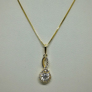 Jewelry - 14k Yellow Gold CZ Infinity Drop Necklace Pendant